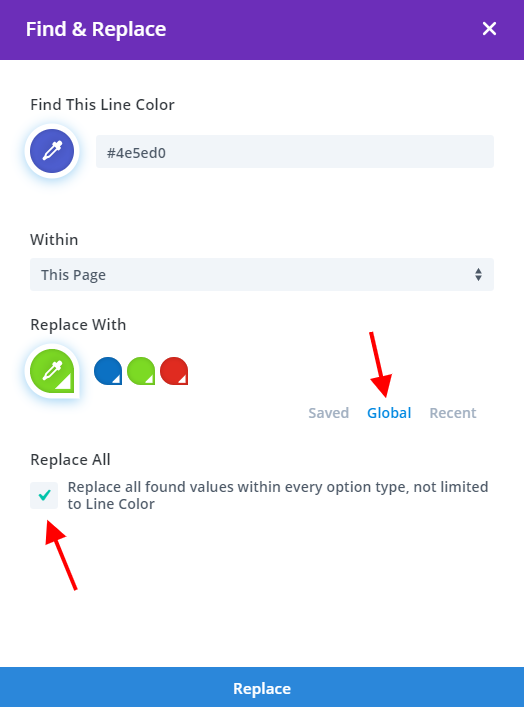 using Find and replace in Divi to change saved colors into global colors