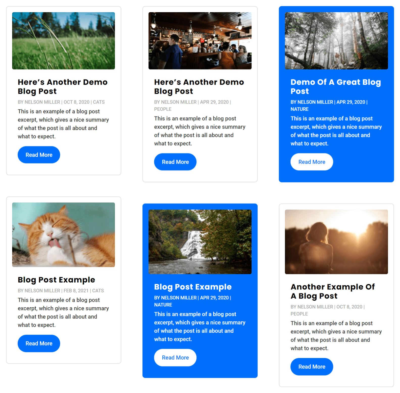 Divi blog category posts highlighted by color
