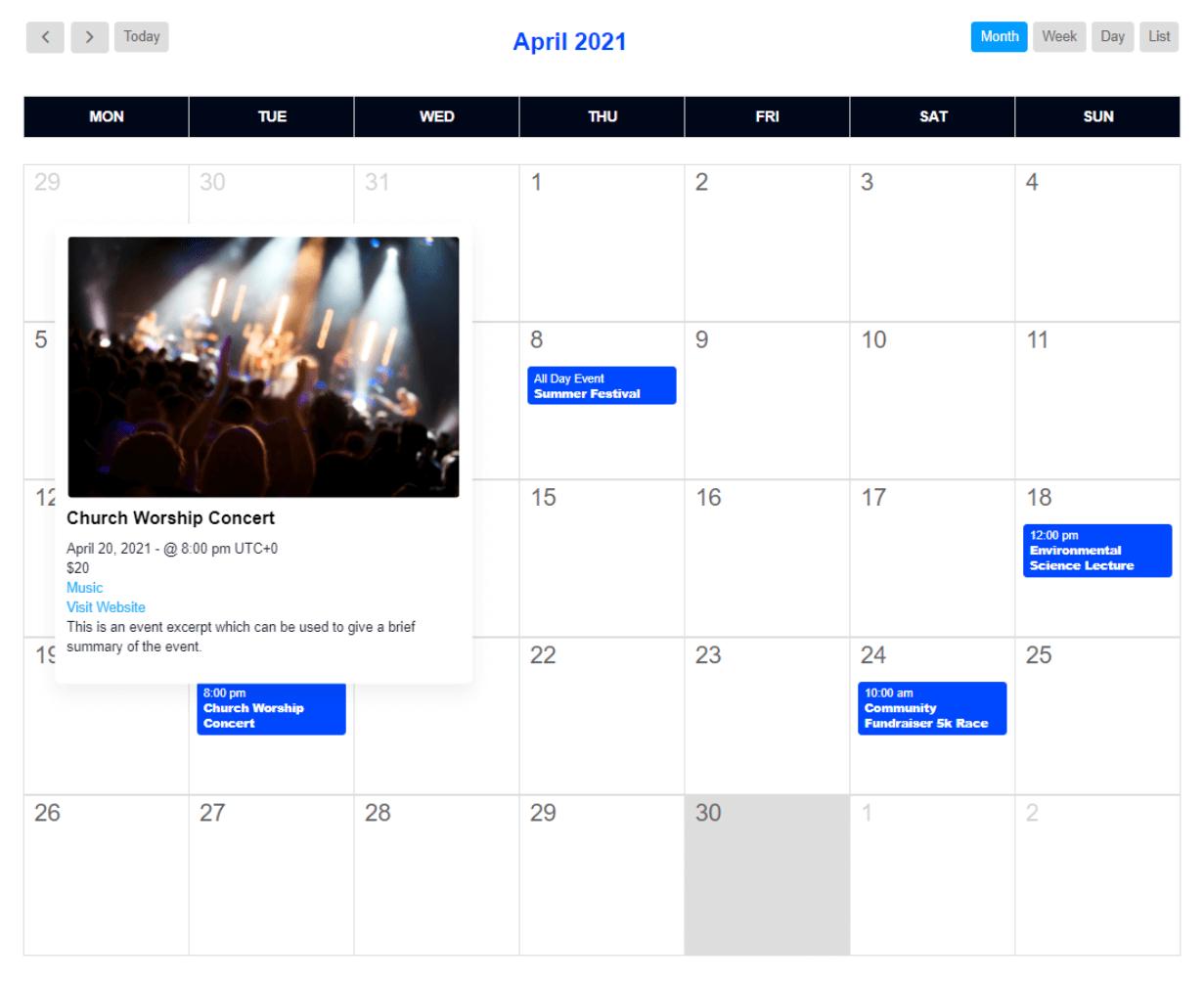 Events Calendar module with default styles in Divi Events Calendar