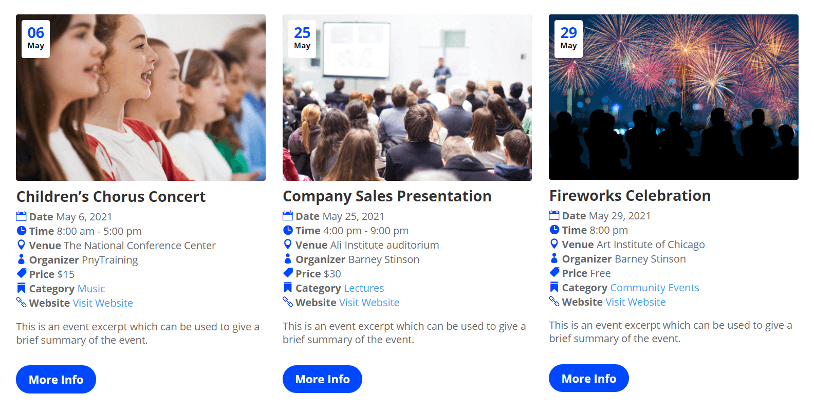 Grid Layout option with default styles in Divi Events Calendar