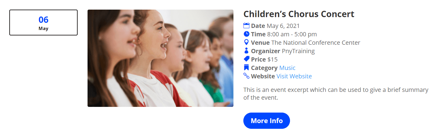 List Layout option with default styles in Divi Events Calendar
