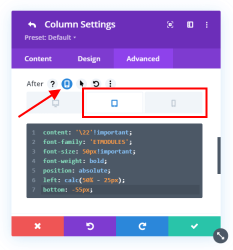 add an icon to the bottom of the Divi columns on Tablet and Phone