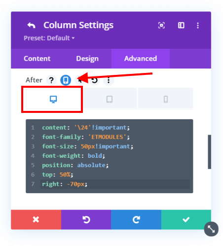 add an icon to the right of the Divi columns on Desktop