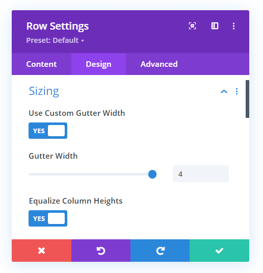 set the Divi row gutter width to 4 and equalize column heights