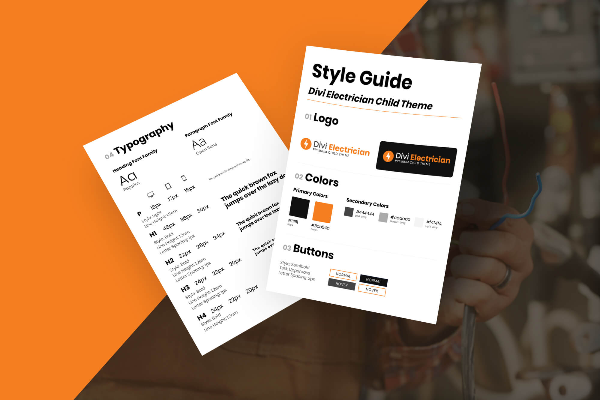 Divi Paving Child Theme Style Guide Mockup