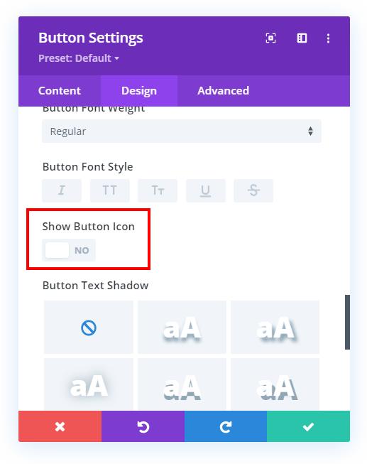 turn off default Divi button icon