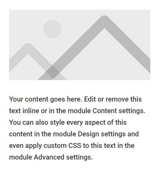 add a Divi image module and text module to same column
