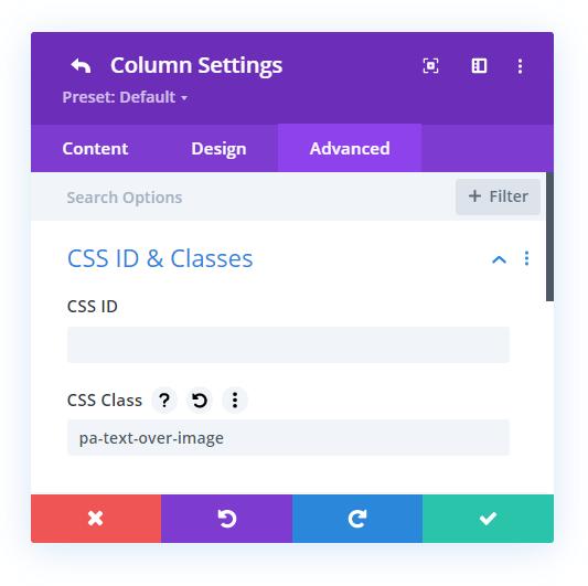 add a custom CSS class for putting a Divi Text module over an image