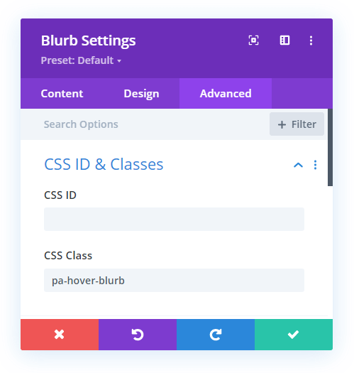 add custom CSS class to the Divi Blurb module for a hover effect