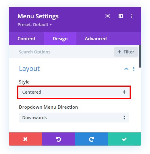 make the Divi Menu module layout centered