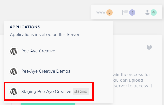 list of Divi staging site applications in Cloudways
