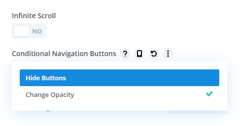 Conditional Navigation Buttons setting in the Divi Carousel Maker