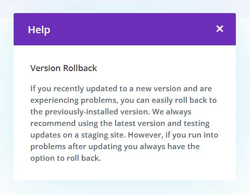 Divi Theme Version Rollback feature explanation