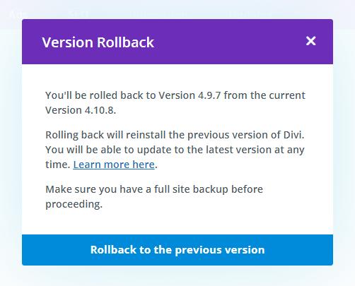 Divi Theme Version Rollback message
