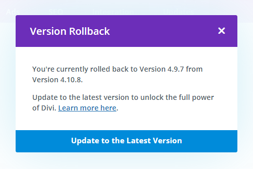 Divi Theme Version Rollback update to the latest