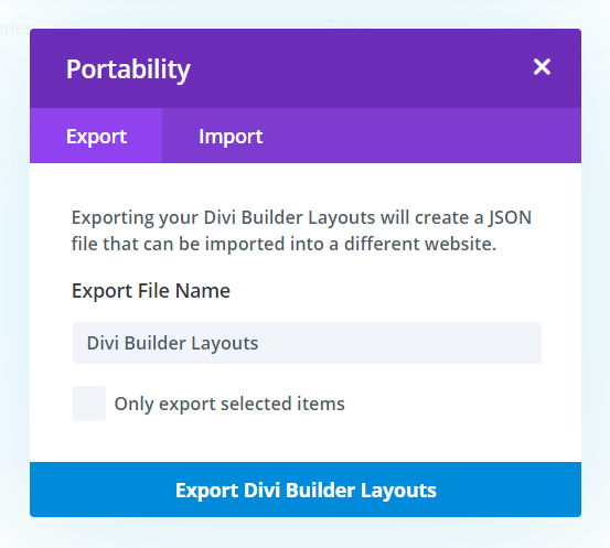Export Divi Library layouts as a Backup