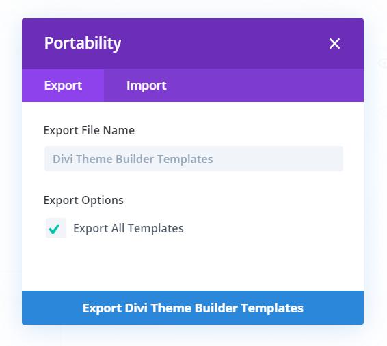 Export Divi Theme Builder templates as a Backup