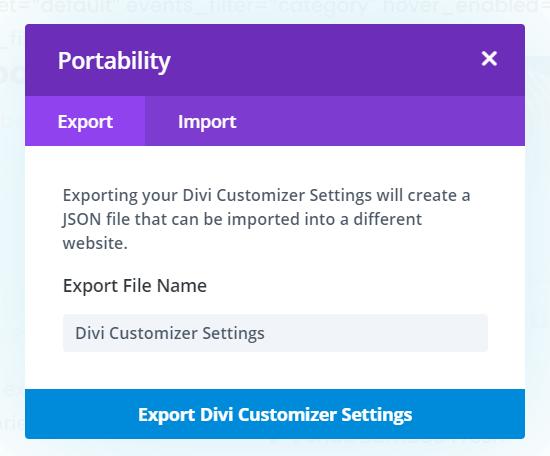 Export Divi Theme Customer settings as a Backup
