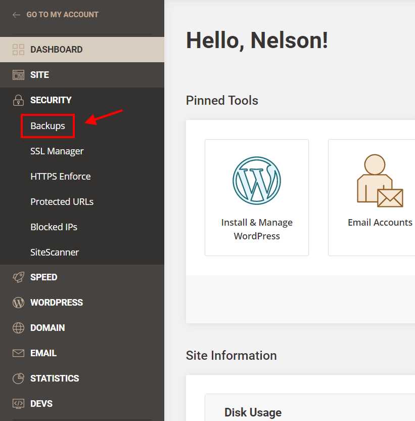 create a Divi website backup in Siteground